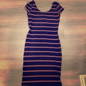 Women's blue and pink striped dress
